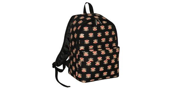 Černý batoh s opičáky Paul Frank