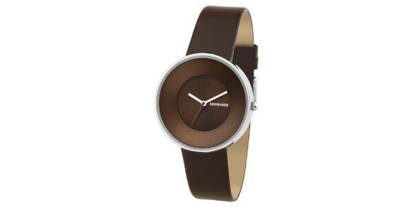 Hnědé retro hodinky s koženým řemínkem Lambretta