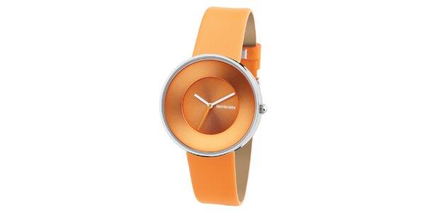 Oranžové retro hodinky s koženým řemínkem Lambretta