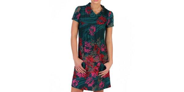 Dámské lahvově zelené šaty s barevnými květy Pepper Tree