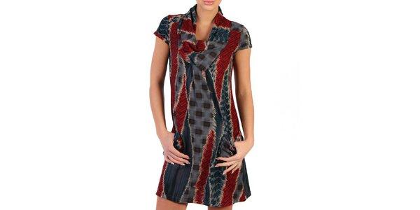 Dámské šedo-červené šaty se vzorem Pepper Tree