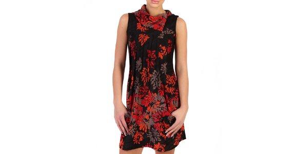 Dámské černé šaty s ohnivými květy Pepper Tree