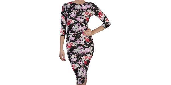 Dámské černé květované šaty s polodlouhým rukávem Pepper Tree