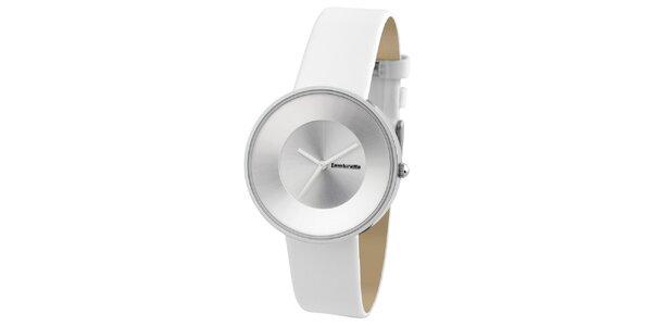 Bílé retro hodinky s koženým řemínkem Lambretta