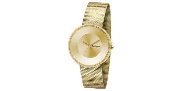 Zlaté hodinky s texturovaným řemínkem Lambretta
