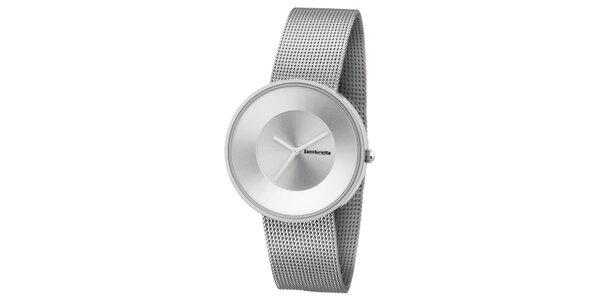 Stříbrné hodinky s texturovaným řemínkem Lambretta