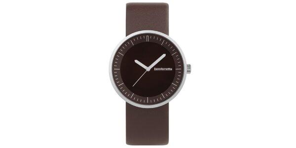 Hnědé hodinky s koženým řemínkem Lambretta