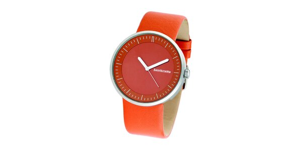 Oranžové hodinky s koženým řemínkem Lambretta