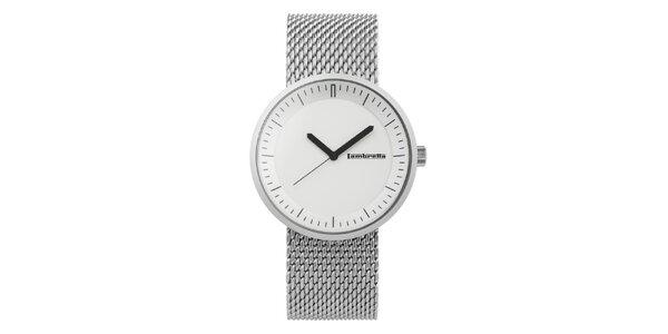 Stříbrné hodinky s bílým ciferníkem Lambretta