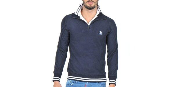 Pánský svetr se stojáčkem v tmavě modré barvě Giorgio di Mare