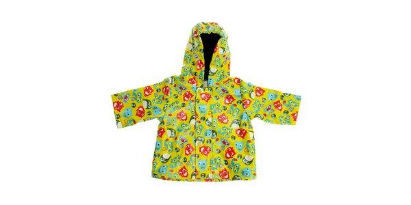 Dětská limetková pláštěnka Tuc Tuc se zvířátky a vnitřním fleecem