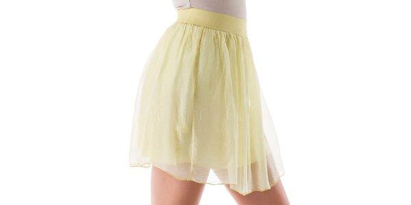 Dámská krátká žlutá hedvábná sukně Keysha
