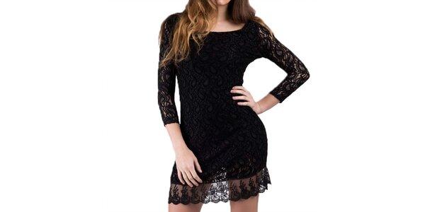 Dámské černé šaty s krajkou Keysha
