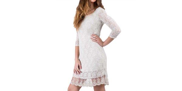 Dámské pískově bílé šaty s krajkou Keysha