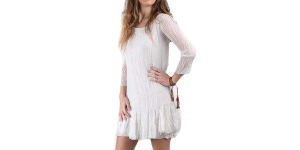 Dámské krémově bílé hedvábné šaty Keysha