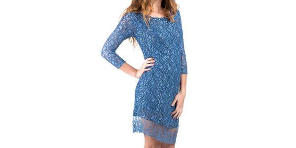 Dámské modré šaty s krajku Keysha
