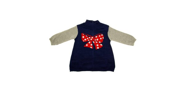 Dětské modro-šedé šatičky Tuc Tuc s velkou červenou mašlí