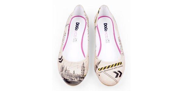 Dámské krémové balerínky Dogo s motivem Londýna