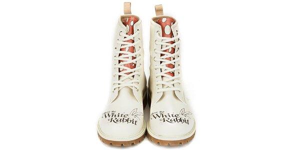 Dámské krémově bílé kotníkové boty s kontrastním jazykem Dogo