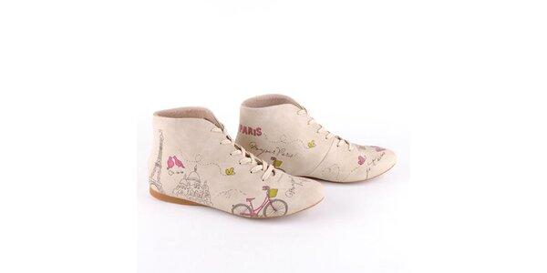 Dámské krémové botky s barevným potiskem Paříže Dogo