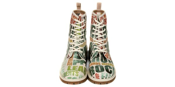 Dámské šněrovací kotníkové boty s rockovou tématikou Dogo