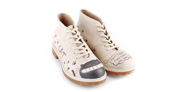 Dámské krémové kotníkové boty s vysmátou kočkou Dogo