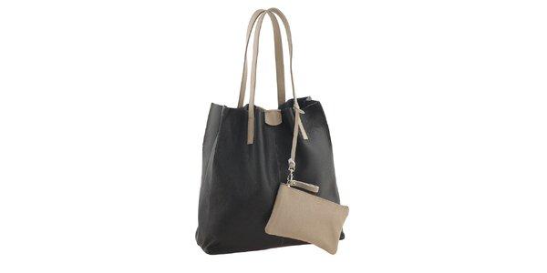 Dámská černo-béžová nákupní taška s kapsičkou Valentina Italy