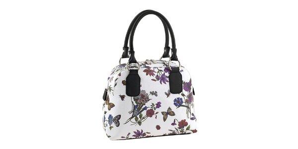 Dámská bílá kabelka s květinovým potiskem Valentina Italy