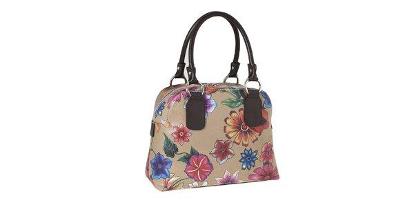 Dámská kabelka s kytičkovaným potiskem a kontrastními poutky Valentina Italy