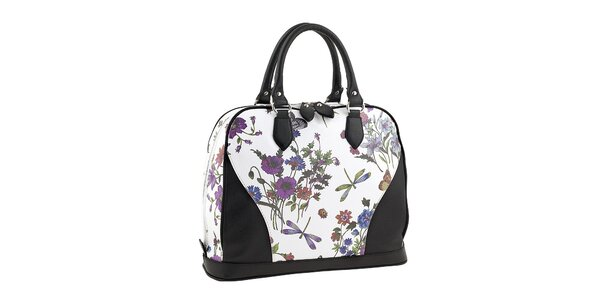 Dámská bílo-černá kabelka s květinovým potiskem Valentina Italy