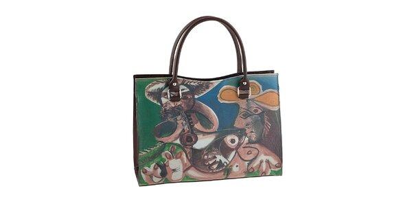Dámská hnědá kabelka s barevným obrázkem Valentina Italy