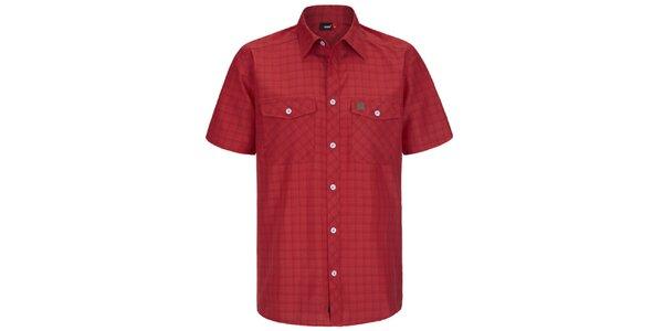 Pánská červená kostkovaná funkční košile s krátkým rukávem Maier