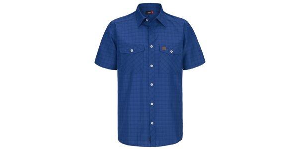 Pánská modrá kostkovaná funkční košile s krátkým rukávem Maier