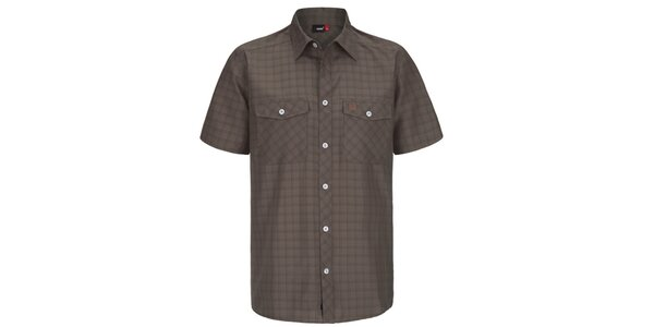 Pánská hnědá kostkovaná funkční košile s krátkým rukávem Maier