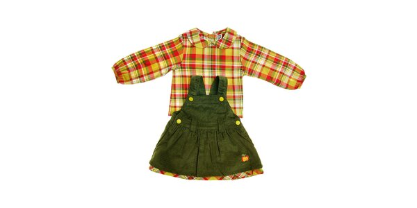 Dětské zelené manšestrové satičky Tuc Tuc s kostkovanou košilkou