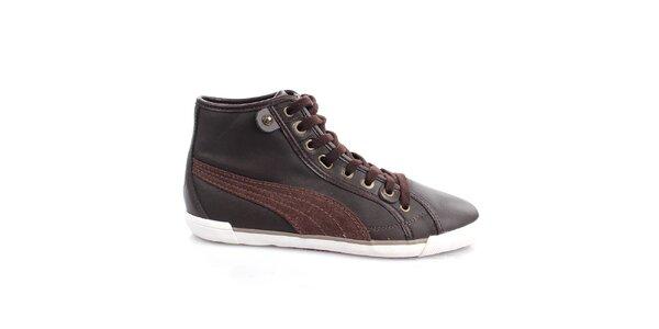 Dámské tmavě hnědé kožené boty Puma