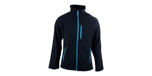 Pánská tmavě modrá bunda s kontrastními zipy Authority