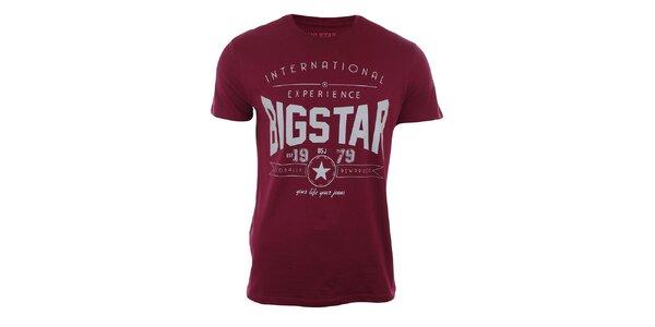 Pánské vínové tričko s potiskem Big Star