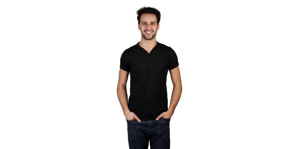 Pánské černé tričko s knoflíčky Bonavita