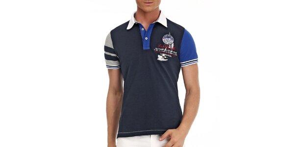 Pánské tmavě modré polo triko s barevnými rukávy Galvanni