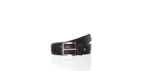 Černý kožený pásek Gianfranco Ferré v efektu krokodýlí kůže