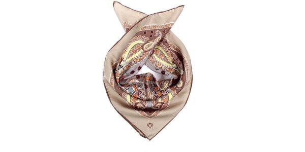 Dámský hnědý šátek s folklorním vzorem Fraas