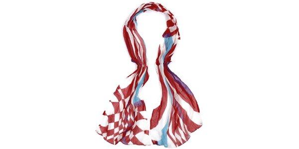 Dámský dlouhý červeno-bílý šátek Fraas