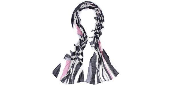 Dámský dlouhý černo-bílý šátek Fraas