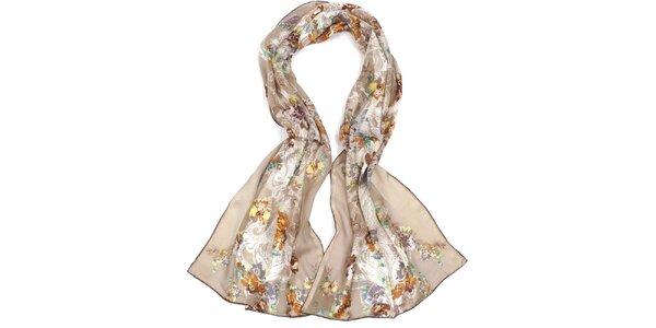 Dámský hnědý šátek s květy Fraas