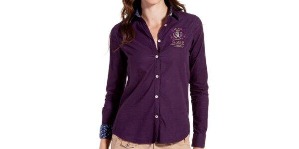 Dámská fialová košile s výšivkou Galvanni