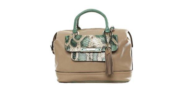 Dámská béžová kabelka se zelenými poutky Guess