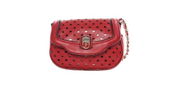 Dámská červená kabelka s dekorativním perforováním Guess