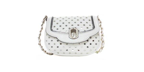 Dámská bílá kabelka s dekorativním perforováním Guess
