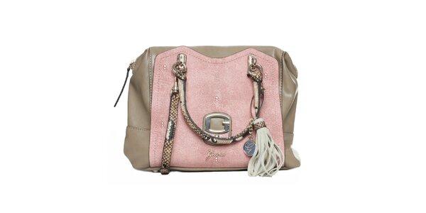 Dámská béžovo-růžová kabelka se střapcem Guess